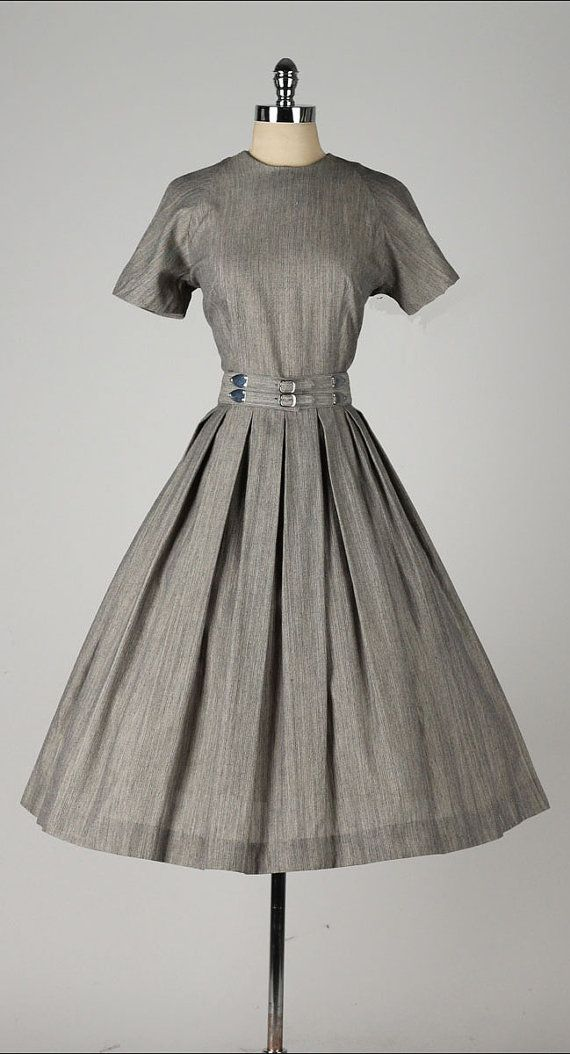 vintage 1950s dress . gray polished cotton . by millstreetvintage
