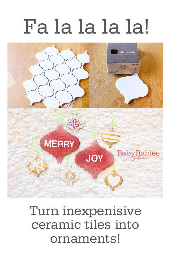 Transform inexpensive ceramic tiles into ornaments! Super easy! | BabyRabies.com