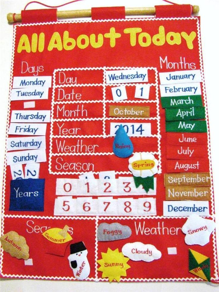 """all about today"" children's felt interactive learning ..."