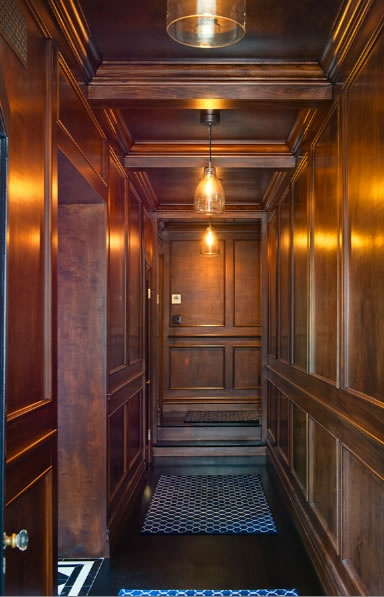 Jeff Lewis Gramercy wood hallway and staircase.