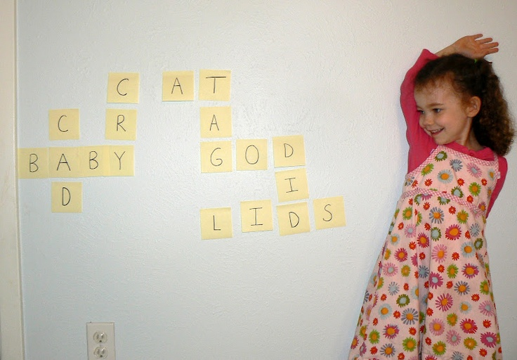 Post-it notes for a DIY crossword puzzle on the wall--this would be wonderful for spelling words and vocabulary words, as well as sight words