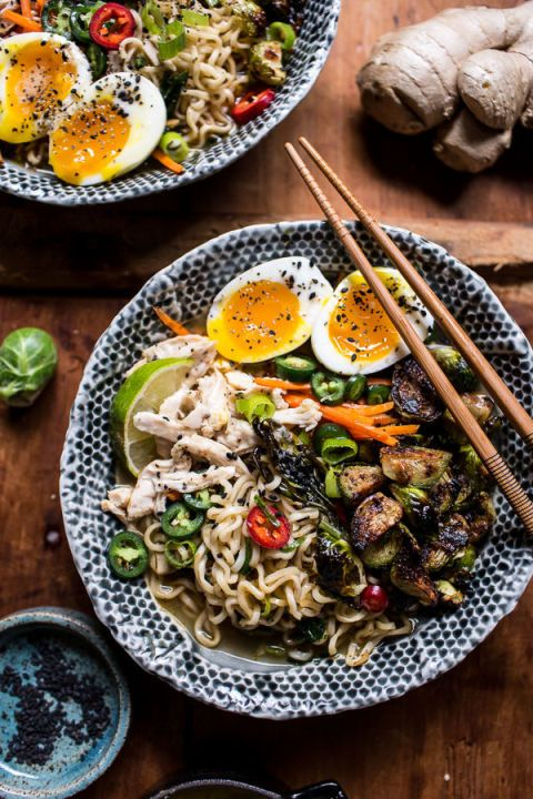 No shortage of flavor in this 30-Minute Chicken Ramen recipe! Ramen noodles and miso roasted Brussels sprouts are piled onto a umami-packed soup. Then, ginger butter is drizzled over the whole bowl. Click through for this and more of the best ramen recipes.