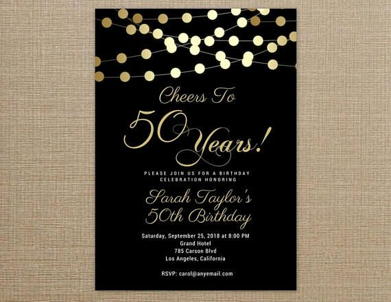 50th Birthday Invitation Black And Gold