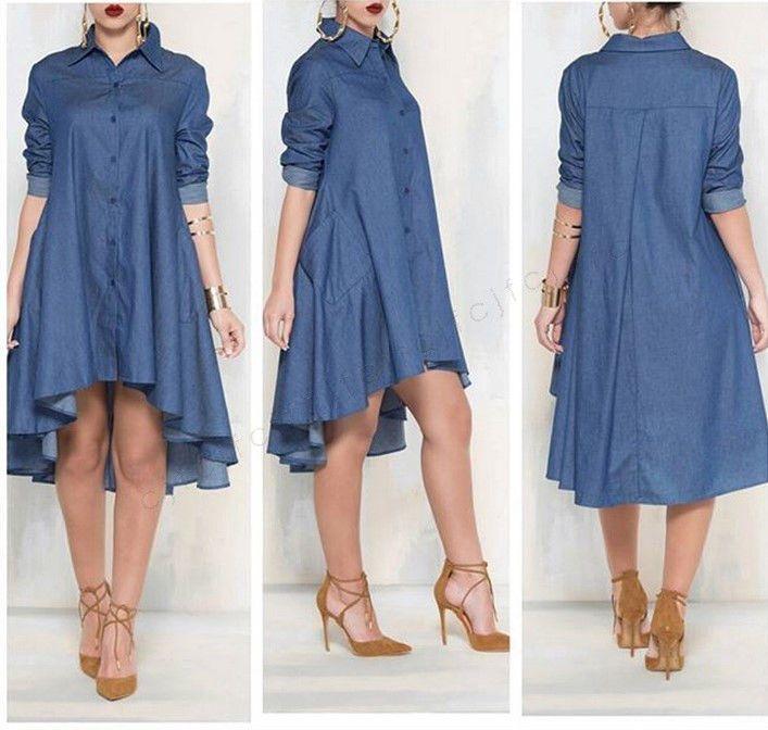 Fashion Women Denim Short Mini Dress Jean Long Sleeve Casual Party Shirt Dress #Unbranded #BallGown #Casual