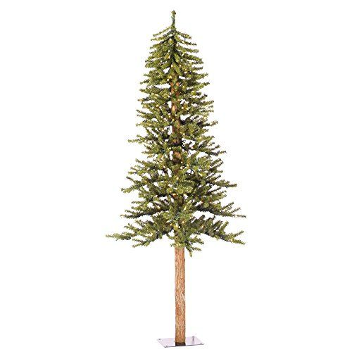 6 Artificial Christmas Tree Natural Alpine with 250 Clear Lights  Stand Slim Prelit Xmas Trees Pencil Holiday Indoor Green Pre lit Trees Fake NEW -- Learn more by visiting the image link.
