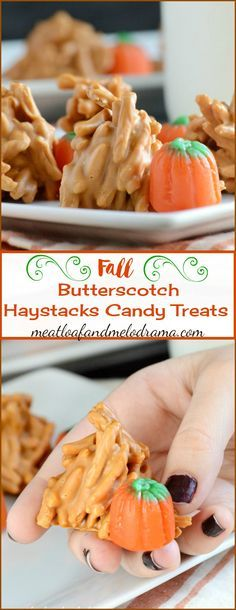Butterscotch Haystacks Candy Treats are quick and easy to make and perfect for fall holidays, desserts and parties! #partyfood