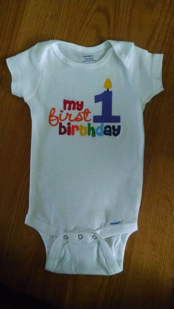 Adorable 1st Birthday Girl or Boy Rainbow Theme Onesie by ...