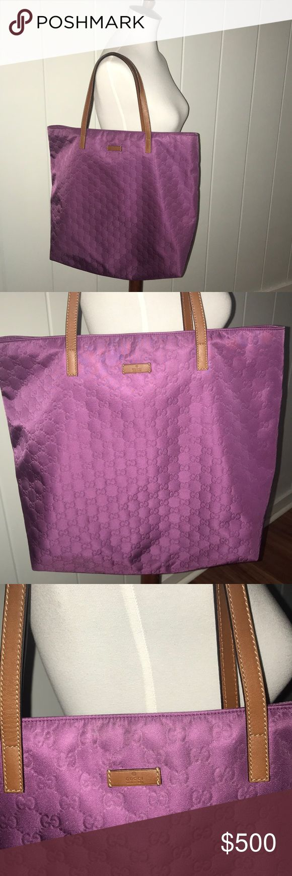 """Gucci guccissima purple tote purse bag authentic Gucci Purple tote bag with canvas lining Clean interior with 2 open pockets and a large zipper pocket The front is in excellent condition and the back shows some spots that I didn't know were there until the flash picked them up. Strap has a small flaw on it.  This bag is really large, about 18"""" front and top to bottom not including the strap is about 15"""" Strap goes up about 8"""" Gucci Bags Totes"""