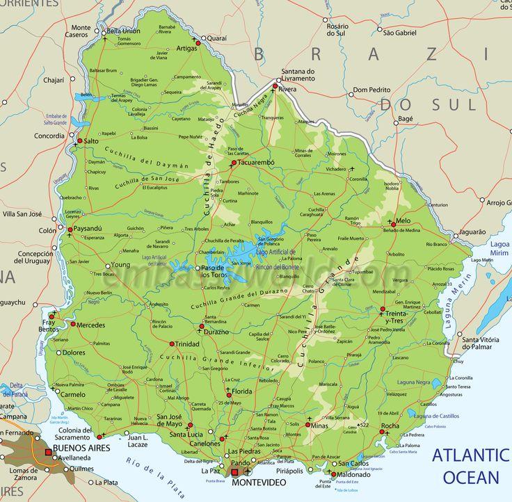Die Besten Map Of Uruguay Ideen Auf Pinterest Argentinien - Uruguay map atlas