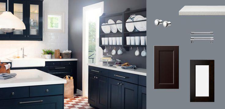 Akurum kitchen with ramsj black brown doors drawers glass for Akurum kitchen cabinets ikea