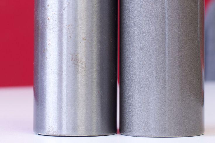 Varnished surface options for design and bathroom radiators. New Light brushed on the left hand and full standard varnished on the right.