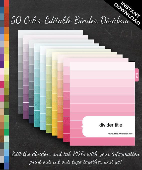 Filofax Binder Dividers - Printable Editable Rainbow Ombre Theme Personal Filofax - Home Organize Business Organization Classroom Homeschool