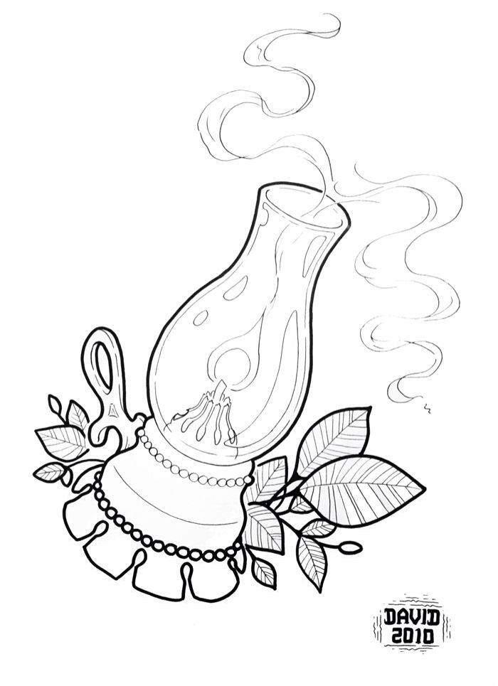 Traditional candle tattoo outline