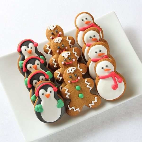 penguin, gingerbread, snowman decorated cookies