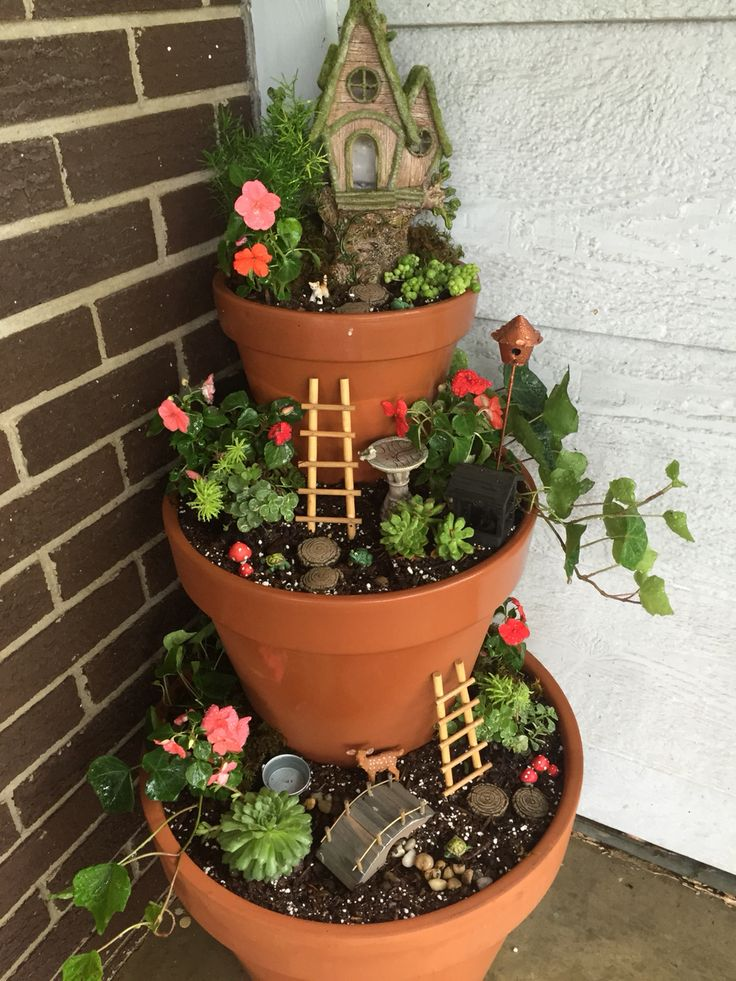 Pot Garden Ideas upcycle crates and buckets for container planting Fairy Garden