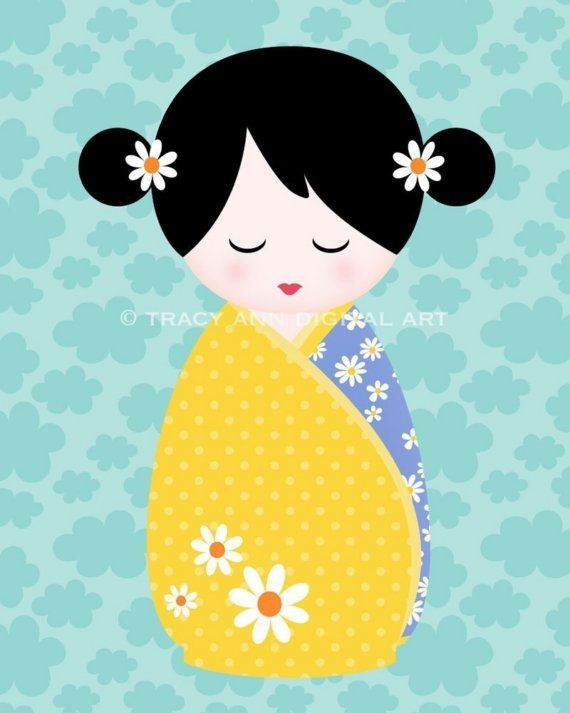 Scrapbooking kokeshi dolls | SALE 30 PERCENT OFF Kawaii Kokeshi Doll 8 x 10 inch print your own ...