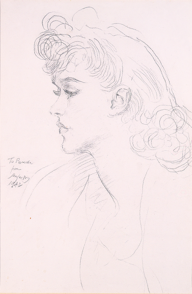 A Portrait Of Mrs Pamela Grove (1942), Augustus J Peral, Pencil drawing, on loan from the Waterford Municipal Art Collection. Selected by Rose Keating.