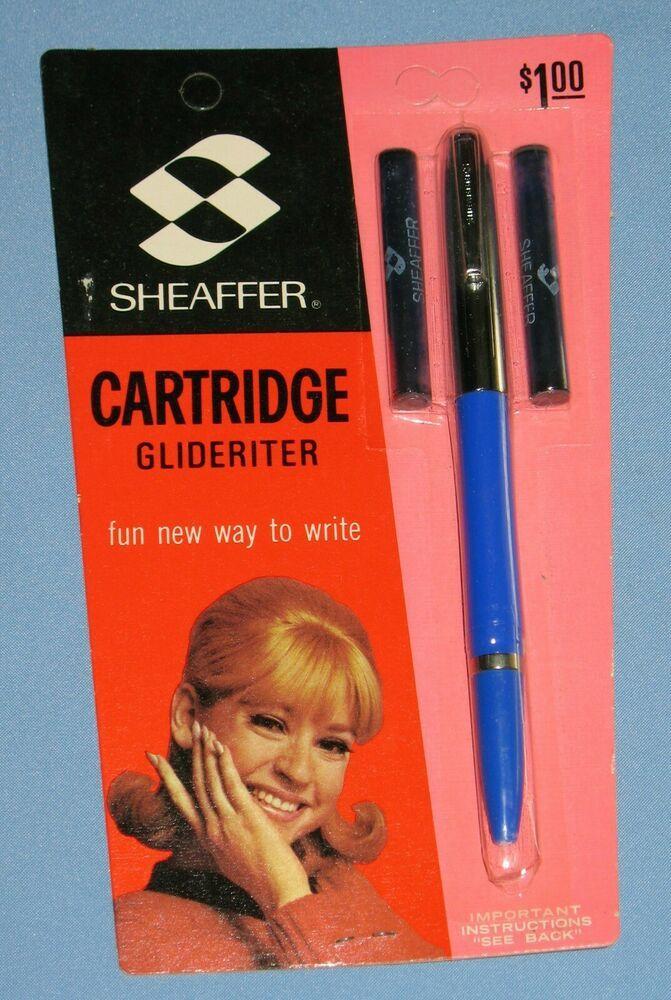 1970 S Sheaffer Cartridge Glideriter Chrome Blue Pen 2 Skrip Cartridges Affilink Chrome Pen Cartridges