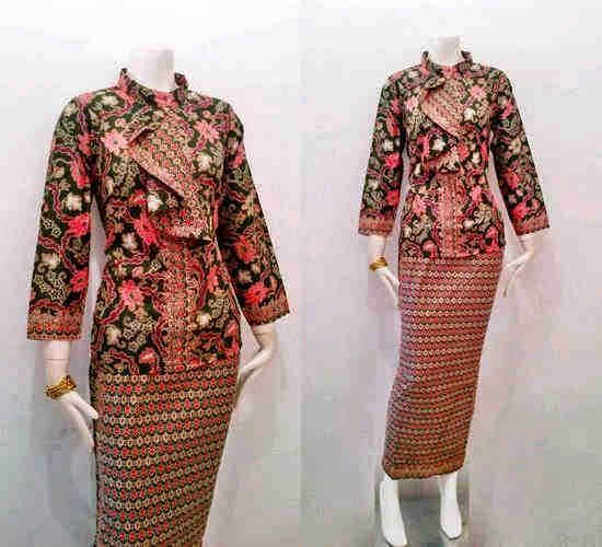 Model Baju Batik Pramugari Motif Mawar