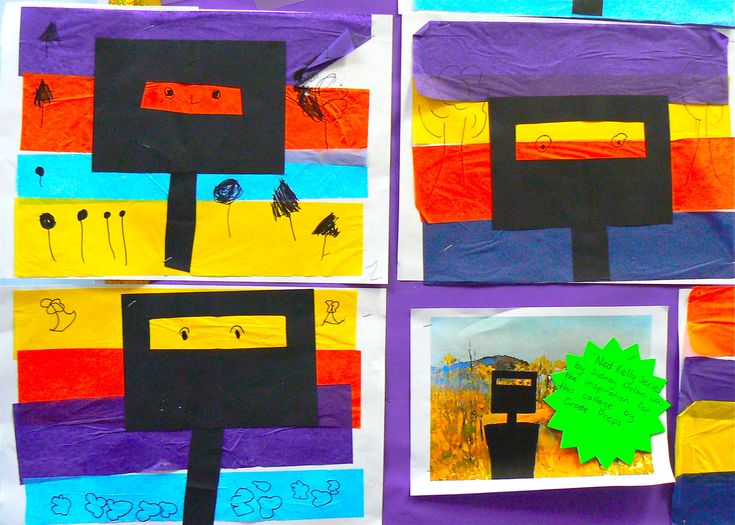 The Preps looked at Sydney Nolan's paintings of Ned Kelly and created their own colourful version using a torn tissue paper background and collage.  They had fun learning about bushrangers