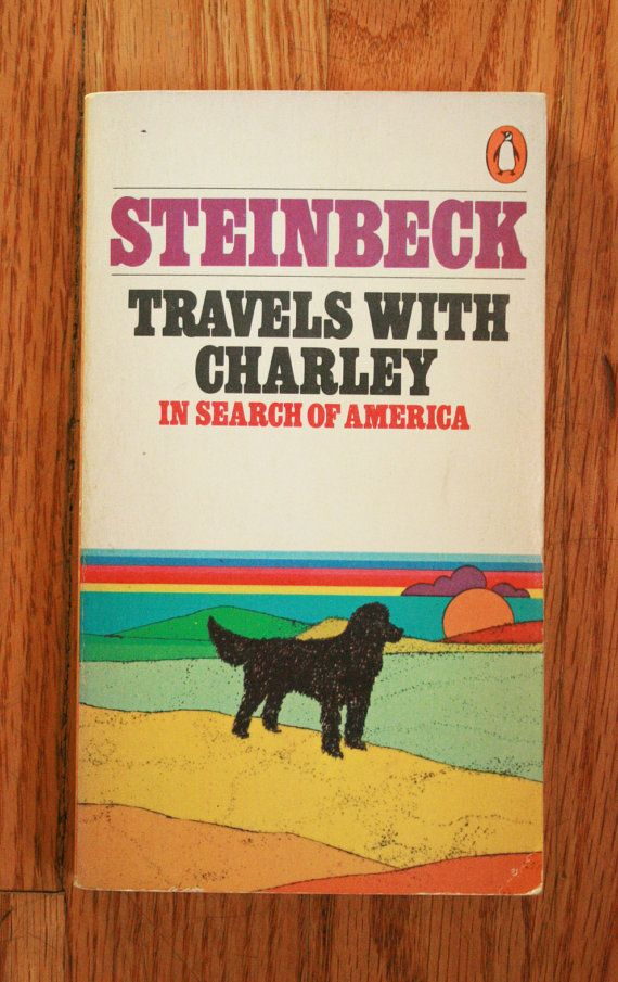 I saw this little book at a book sale and just adored the cover. I think its really special and cute, and a piece of art on its own! A travelogue/story of John Steinbeck travelling America in the 60s with his poodle, Charley. 1980s Penguin Classics. Very good condition - yellowing of the pages as is typical for an older book, very light wear here and there and a small crease on the bottom right corner, but other than that its really nice! If you have any questions, feel free to...