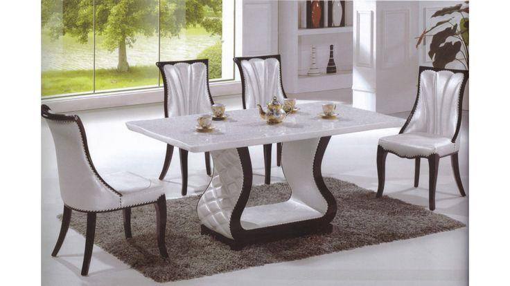 Mesa de marmol y simil cuero cod da885 muebles cuero for Fabricantes de muebles italianos