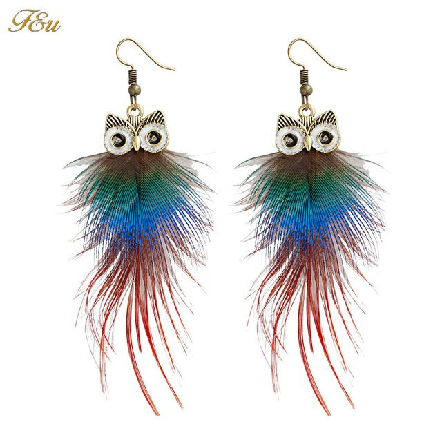 F & U Bonito Pingente Coruja Dangle Gota Brincos Vintage Antique Bronze Cor Feather Dangle Brincos