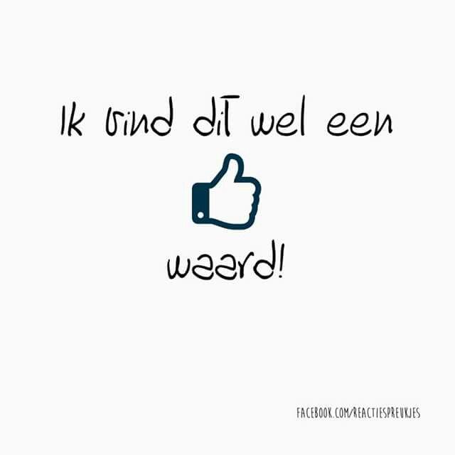 Leuk voor in een reactie op Facebook! Ik vind dit wel een duimpje waard! #nederlands #tekst