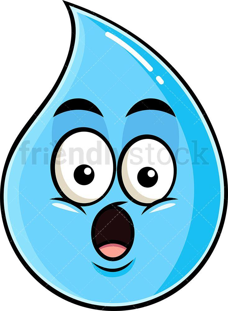 Cartoon Rain Drop : cartoon, Surprised, Raindrop, Emoji, Cartoon, Clipart, Vector, FriendlyStock, Clipart,