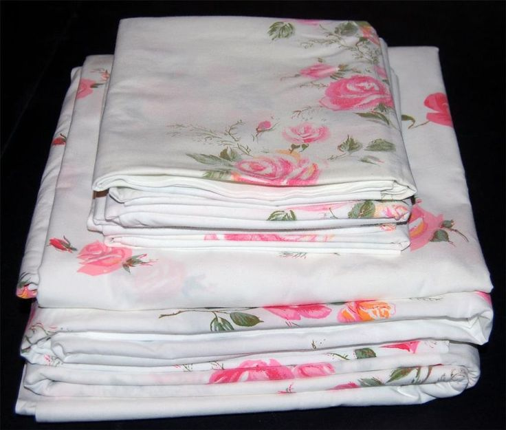 vtg utica pink roses sheet set 1 fitted 2 flat 4 cases 100 cotton percale