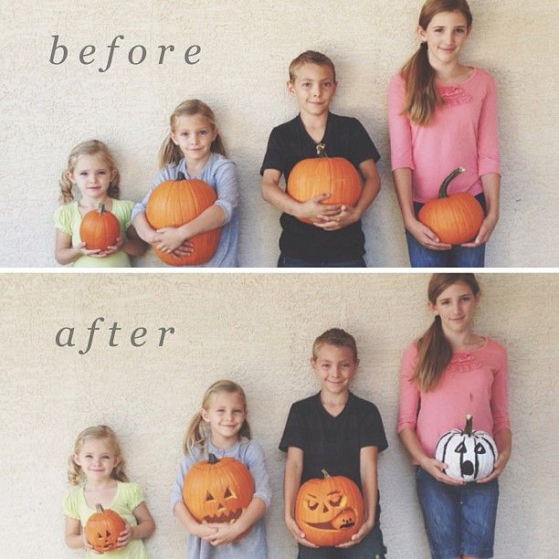 Photo Tradition | Take Before and After Pumpkin Photos.
