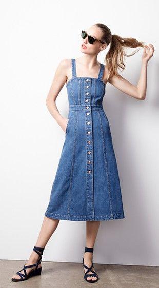 Button-front dress in denim + Suede ankle-wrap wedges// #JCrew @jcrew