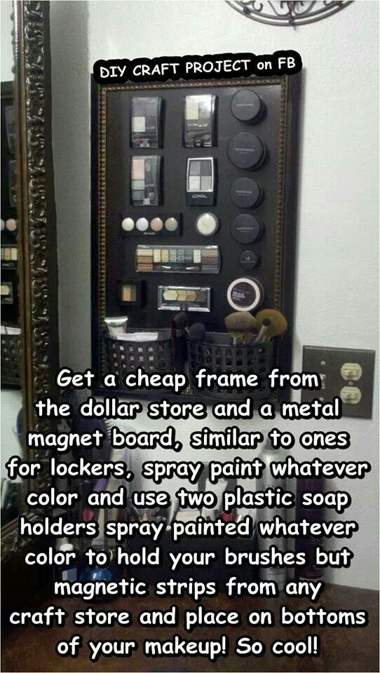 Cool way to store your makeup. Easy to find what you want this way, too.