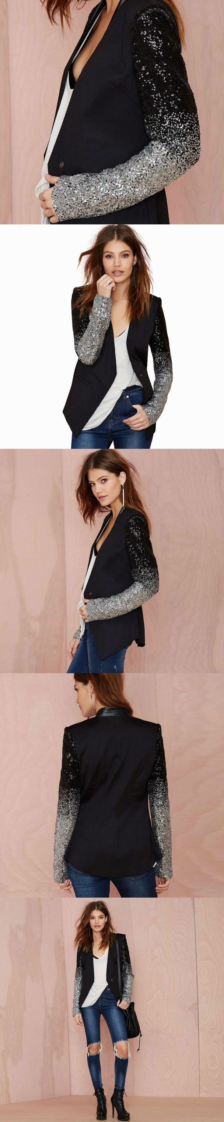 Women Spring New Fashion PU Patchwork Blazer Mujer Black Silver Embroidered Sequins Full Sleeve Winter Coat Outwear