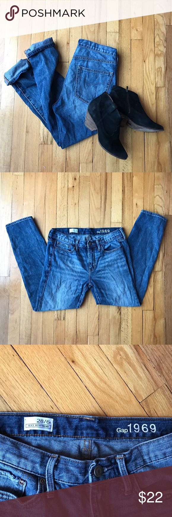 """GAP 1969 sexy boyfriend jeans Amazing pair of GAP """"sexy boyfriend"""" jeans in excellent used condition. Very little wear; no flaws. Perfect distressed medium blue color. So cute with ankle boots or heels! GAP Jeans Boyfriend"""