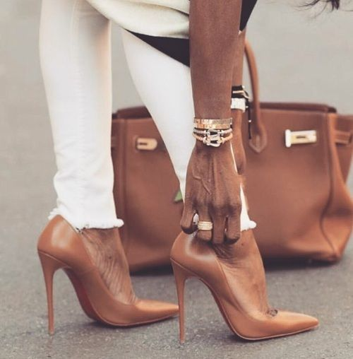 Nude heels white jeans...<3