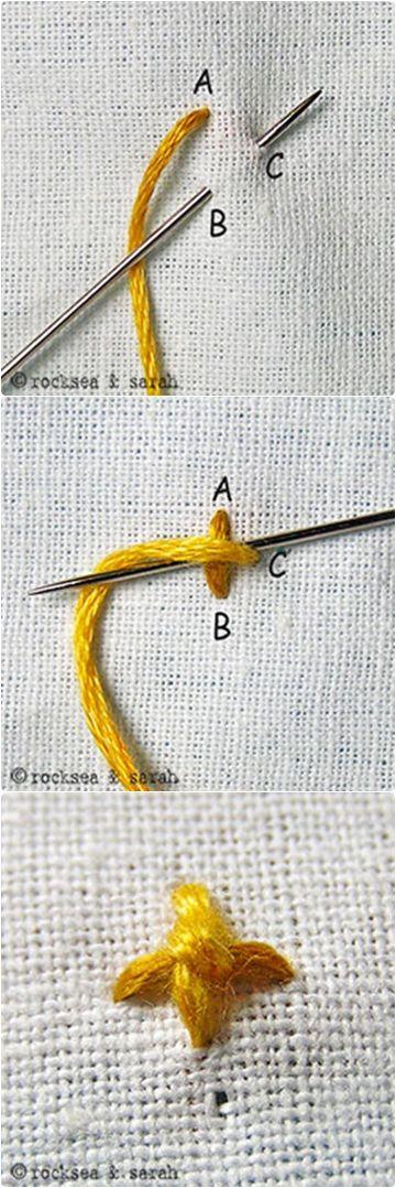 Four Legged Knot Stitch www.embroidery.rocksea.org/stitch/knots/four-legged-knot-stitch/