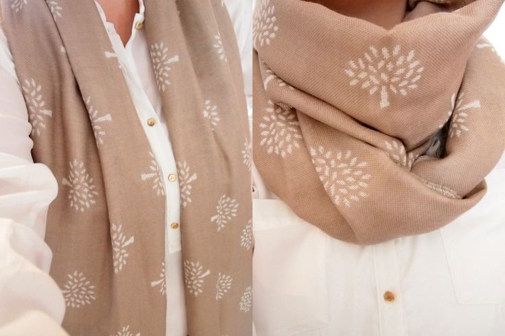 Mulberry scarf and white shirt