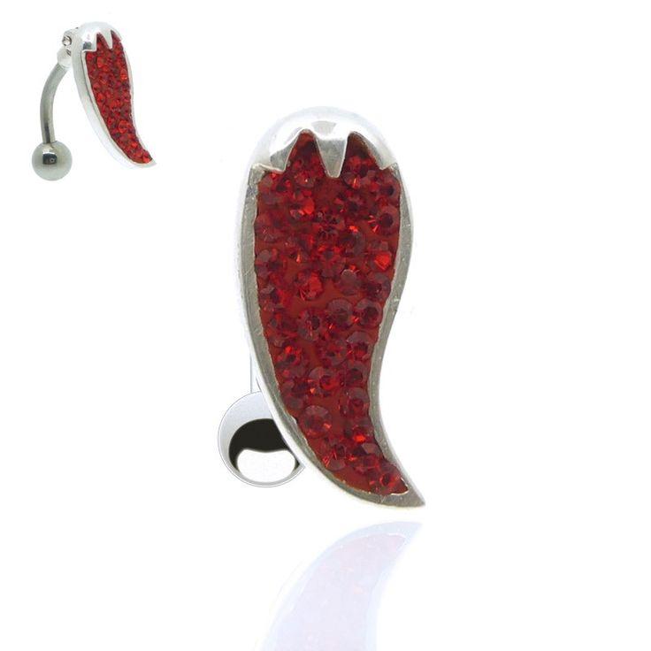 Bijou piercing de nombril inversé chili (piment)