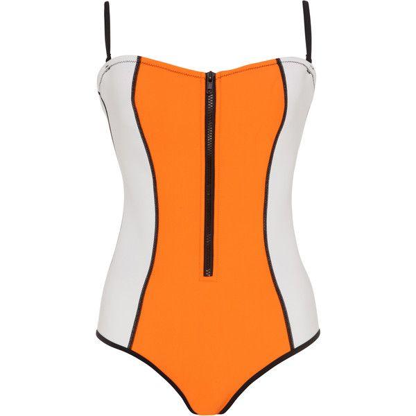 Bondi Born Megan Swimsuit (7,425 DOP) ❤ liked on Polyvore featuring swimwear, one-piece swimsuits, orange, strapless bathing suits, strapless swimsuit, one piece bathing suits, sheer swimsuit and sheer bathing suits