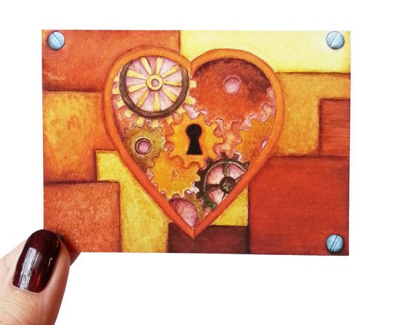 Steampunk Heart Acrylic Painting Aceo Trading Card Orange Heart Cogs Keyhole Little Mini Painting Giclee Print Archival Print Fine Art