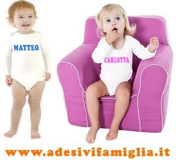 http://www.adesivifamiglia.it body personalizzati da 0 a 2 anni