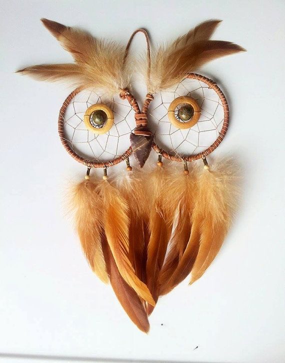 Owl Dream Catcher // Wall Decor // Feathers by FlozotikCreations