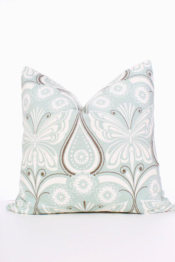 Waverly Ipanema Flint Seafoam Green Blue Brown Ivory Butterfly