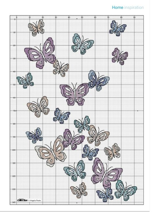 Butterfly cushion chart picture of cushion is pinned in for Schemi punto croce farfalle