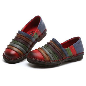 SOCOFY Rainbow Color Genuine Leather Soft Flat Loafers