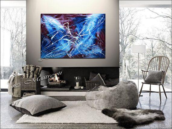 Arte blu viola moderna astratta su tela parete arte olio su