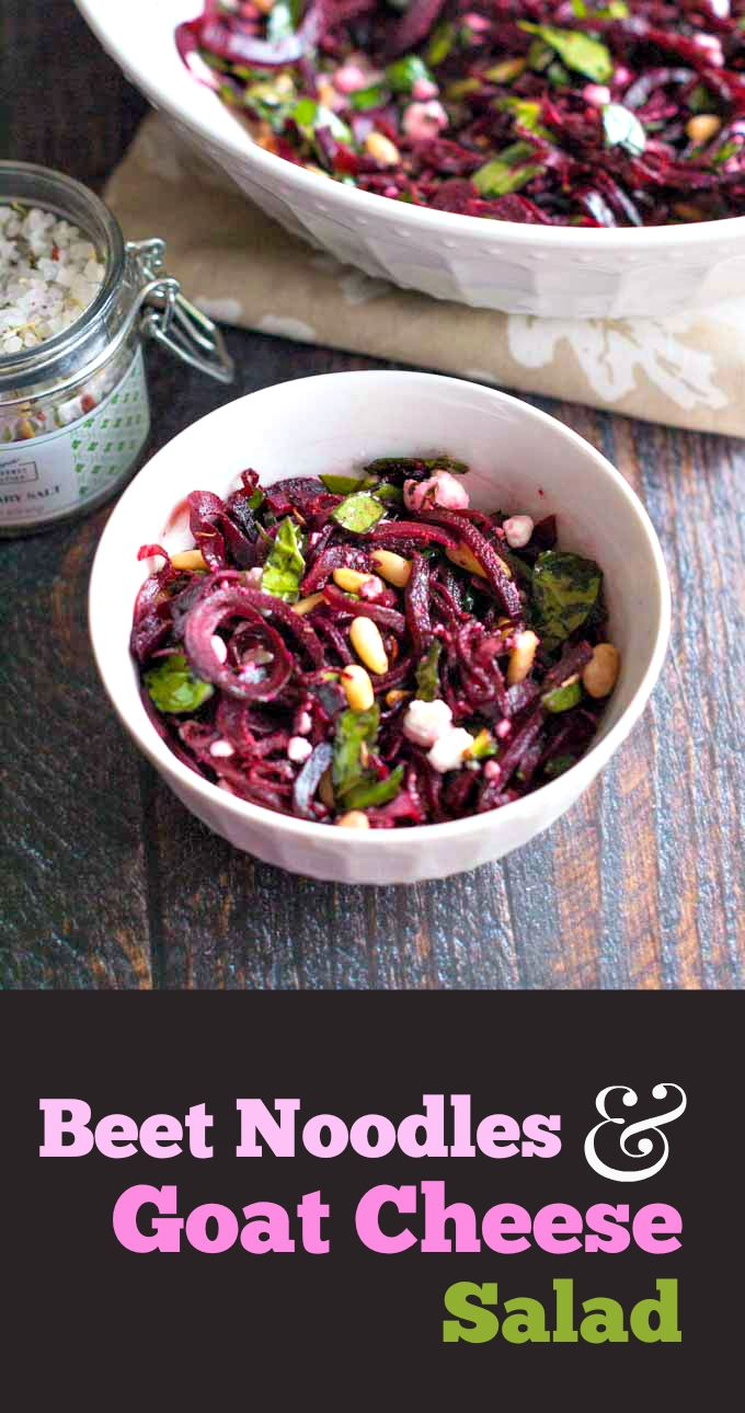 This beet noodles & goat cheese salad is a tasty change and perfect for spring. Using beet noodles, goat cheese and toasted pine nuts you get the perfect combination of tastes.