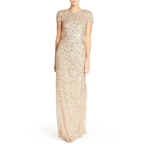 Women's Adrianna Papell Short Sleeve Sequin Mesh Gown ($278) ❤ liked on Polyvore featuring dresses, gowns, petite, sequin evening gowns, petite gowns, sequin gown, white sequin dress and petite white dresses