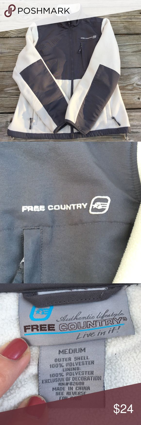 Women's free Country Fleece Jacket Medium Women's Free Country Fleece zip up Jacket it's a off white cream color and gray. Size Medium In nice shape smoke free home please see all pictures. Free Country  Jackets & Coats